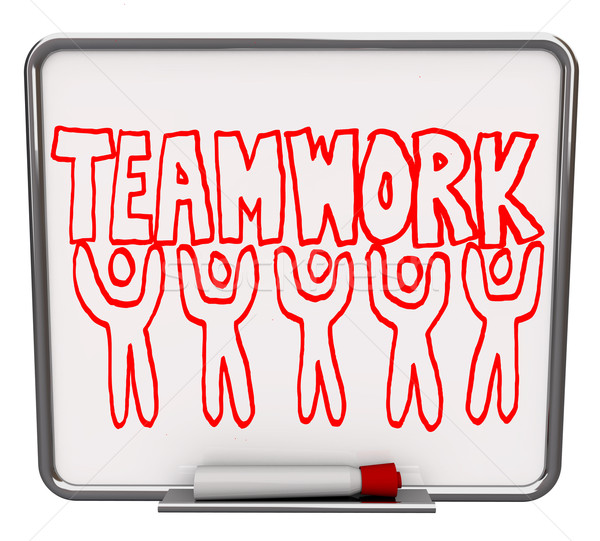 Teamwork on Dry Erase Board with Team Members Stock photo © iqoncept