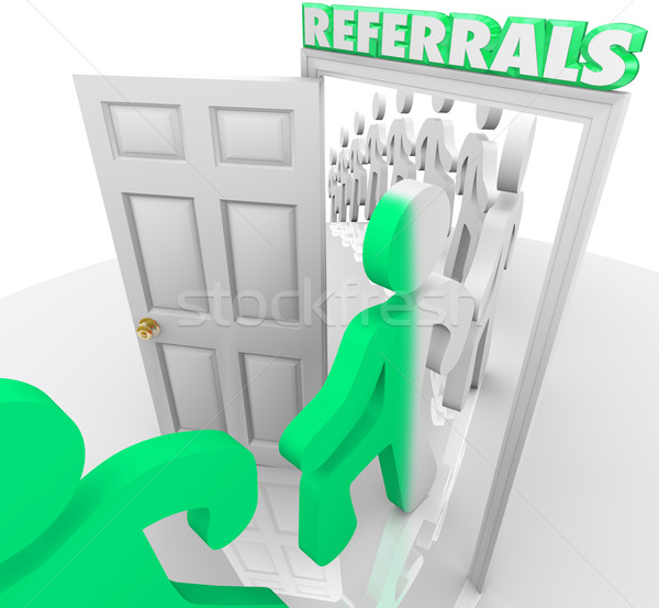 Referrals Customers Walking Through Store Door Stock photo © iqoncept