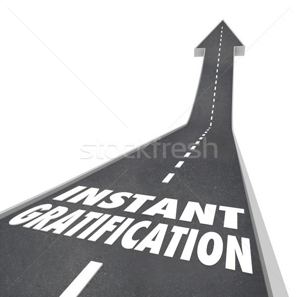 Road Arrow Instant Gratification Joy Ride Travel Direction Stock photo © iqoncept