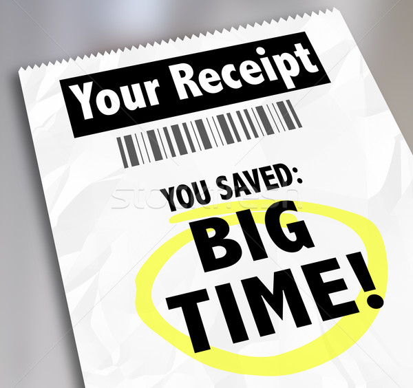 Your Receipt You Saved Big Time Store Purchases Sale Discount Stock photo © iqoncept
