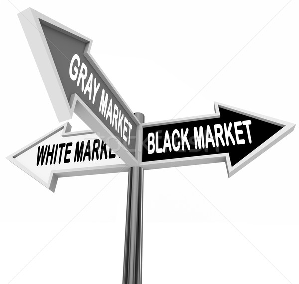 Black Gray White Market Road Street Signs Three Way Economy Stock photo © iqoncept