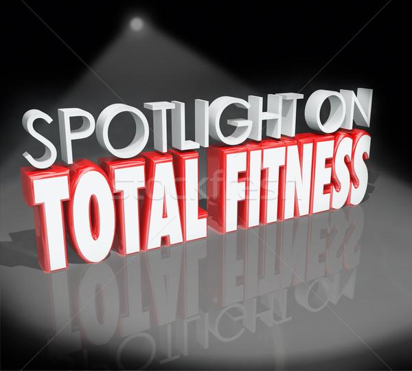 Rampenlicht Fitness 3D Worte Briefe Stock foto © iqoncept