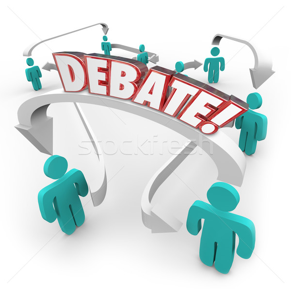 Debate Word People Connected Arrows Arguing Disagreement Stock photo © iqoncept