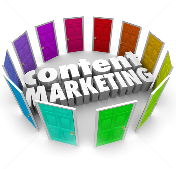 Content Marketing Words Many Doors Channels Formats Stock photo © iqoncept