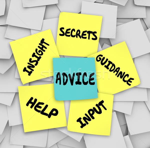 Advies geheimen inzicht helpen sticky notes Stockfoto © iqoncept