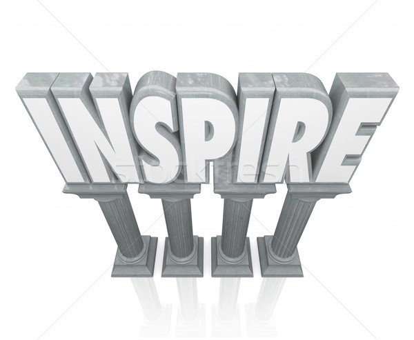 Inspire 3d Word Stone Marble Columns Encourage Success Motivatio Stock photo © iqoncept