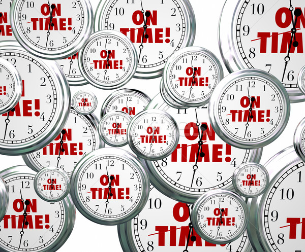 On Time Words Flying Clocks Punctuality  Stock photo © iqoncept