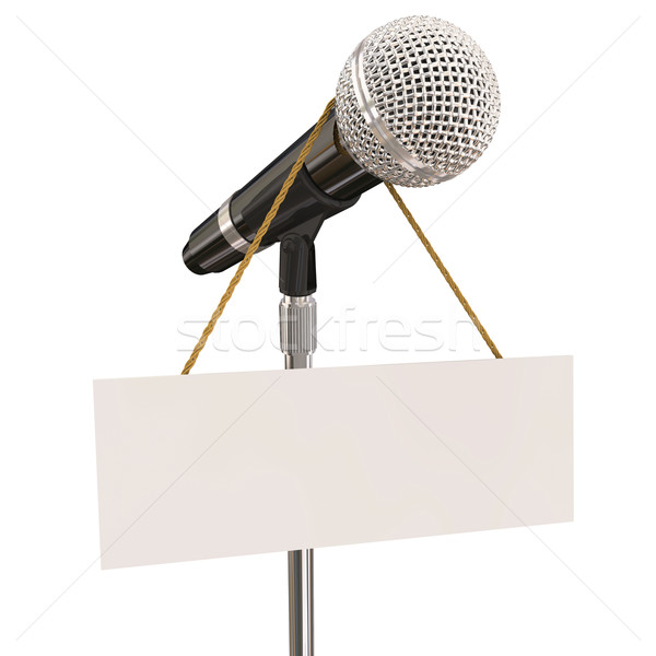 Microphone Stand Blank Copyspace Message Recording Studio Mike P Stock photo © iqoncept