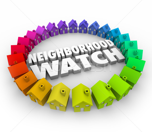 Neighborhood Watch Houses Homes Organized Patrol Stock photo © iqoncept