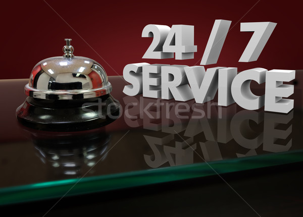 24 Hours 7 Days Week 3d Words Service Bell Open All Night  Stock photo © iqoncept
