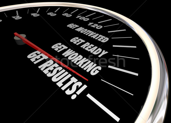 Get Results Speedometer Take Action Motivated Ready Working 3d I Stock photo © iqoncept