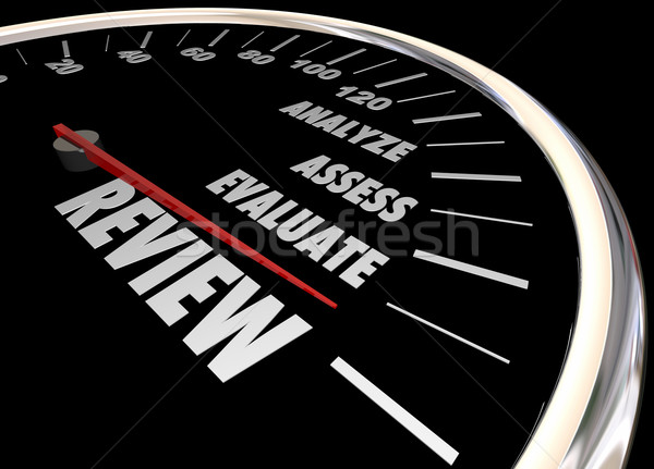 Review Analyze Evaluate Assess Speedometer 3d Illustration Stock photo © iqoncept