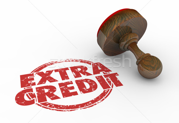 Extra Credit Stamp Bonus Work Task Job Words 3d Illustration Stock photo © iqoncept