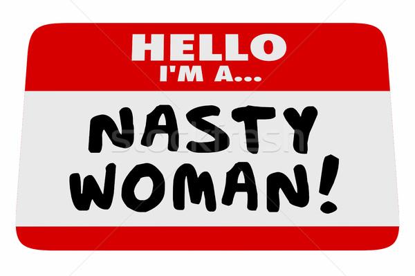 Nő hello délelőtt névtábla büszke feminista Stock fotó © iqoncept