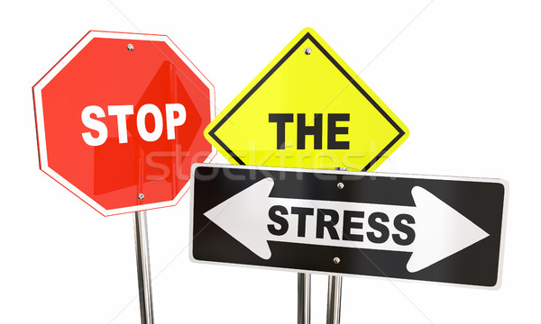 Stop the Stress Signs Anxiety Reduce Lower 3d Illustration Stock photo © iqoncept