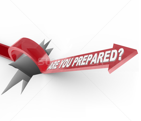Are You Prepared - Arrow Jumps Over Hole Stock photo © iqoncept