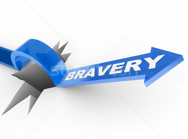 Bravery Arrow Jumping Over Hole Courage Helps Survive Stock photo © iqoncept