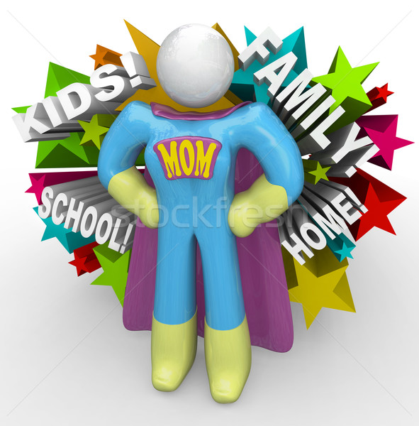 Super Hero Mother Mom in Cape and Outfit to Save the Day Stock photo © iqoncept