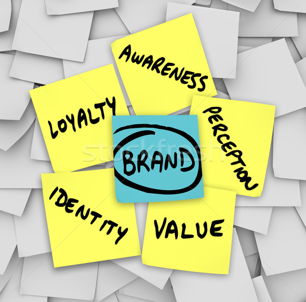 Brand Words Sticky Notes Perception Identity Loyalty Stock photo © iqoncept