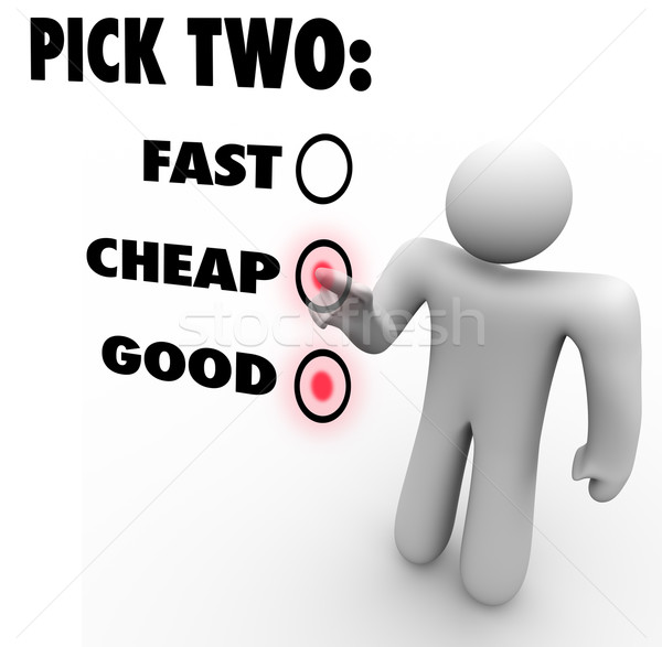 Dois rápido barato bom três opções Foto stock © iqoncept