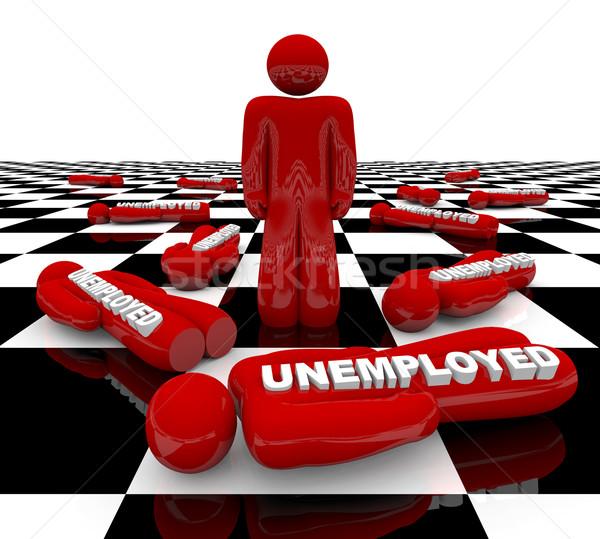 Chômage dernier homme permanent rouge chiffre Photo stock © iqoncept