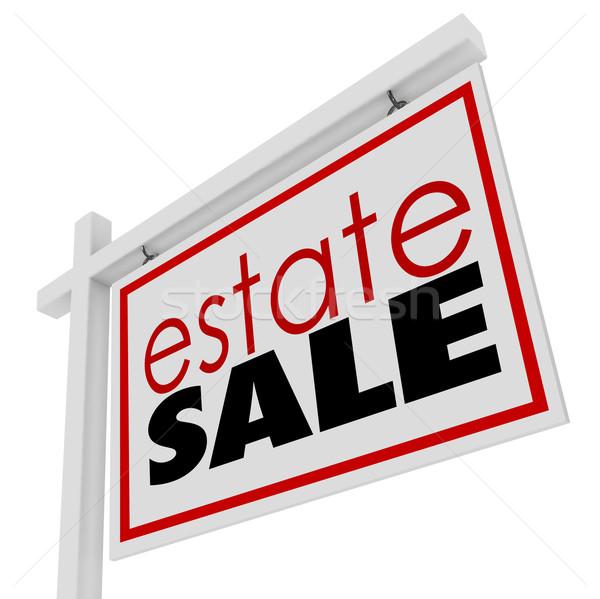 Birtok felirat háztulajdonos elad bent ház Stock fotó © iqoncept