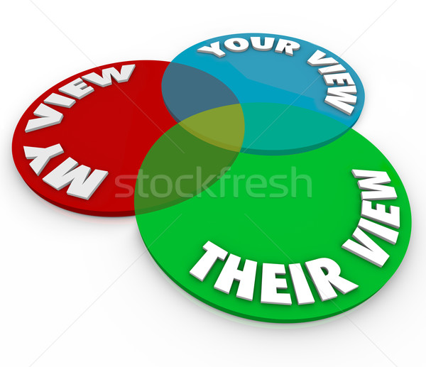 My Your Their View Opinions Venn Diagram Common Shared Interests Stock photo © iqoncept