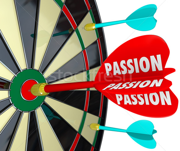 Passion Word Desire Focus Dart Board Dedication Commitment Targe Stock photo © iqoncept