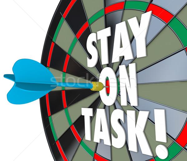 Permanecer tarea 3D palabras dardo bordo Foto stock © iqoncept