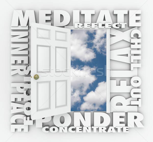 Meditate 3d Word Door Relax Inner Peace Reflection Concentration Stock photo © iqoncept