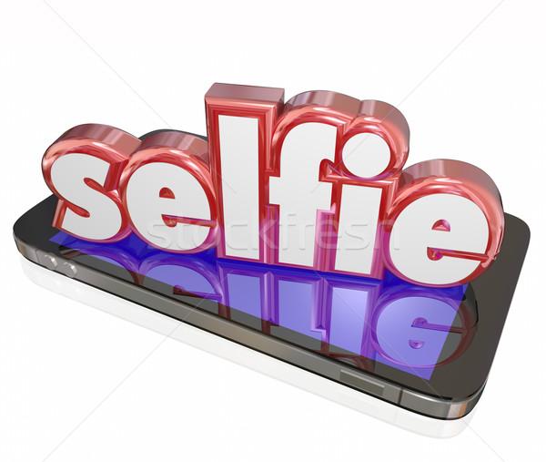 Stock fotó: Szó · 3D · kamera · telefon · önarckép · közösségi · média