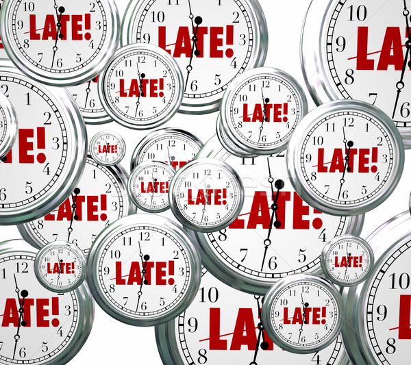 Late Word Clocks Flying Tardy Overdue Alarm Behind Schedule Stock photo © iqoncept