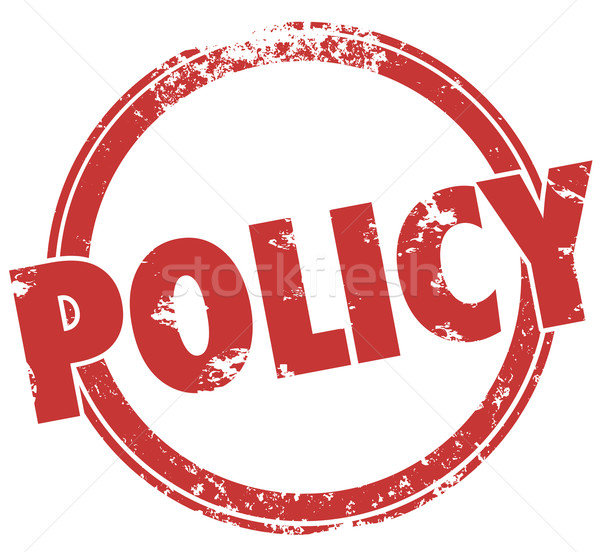 Policy Word Round Stamp Official Rules Guidelines Compliance Stock photo © iqoncept