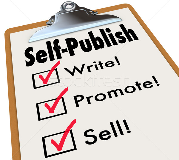 Self-Publish Clipboard Write Promote Sell Writer Author Book Stock photo © iqoncept