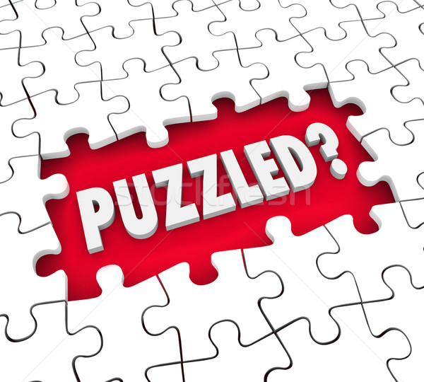 Puzzled Word Pieces Hole Confusion Lost Stumped Stock photo © iqoncept
