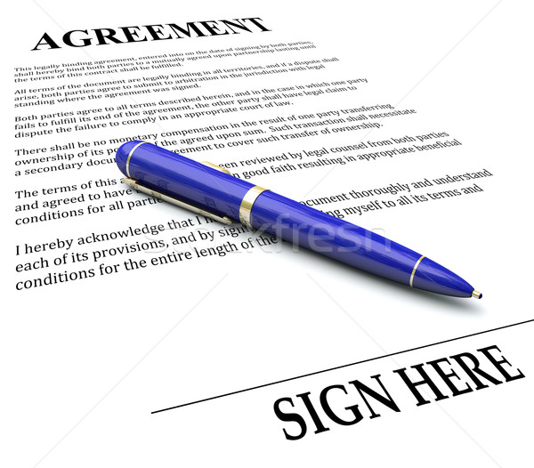 Agreement Pen Signing Signature Line Legal Document Stock photo © iqoncept
