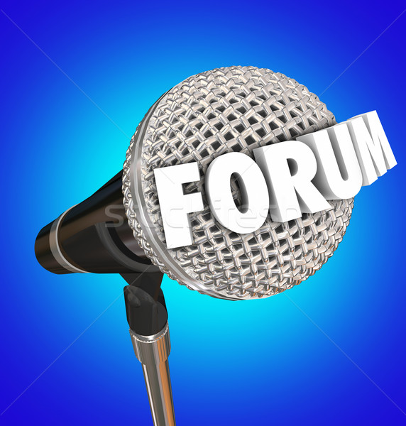 Forum Microphone Word Discussion Open Meeting Share Opinion Feed Stock photo © iqoncept