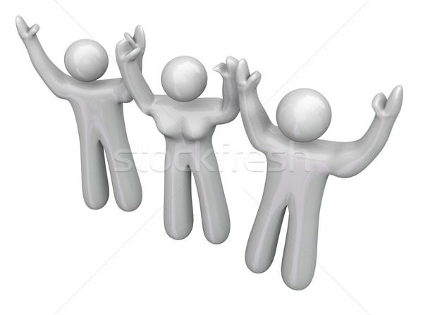 üç 3 kişi sevinç mutlu kutlama Stok fotoğraf © iqoncept
