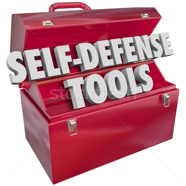 Self-Defense Tools Red Metal Toolbox 3d Words Stock photo © iqoncept