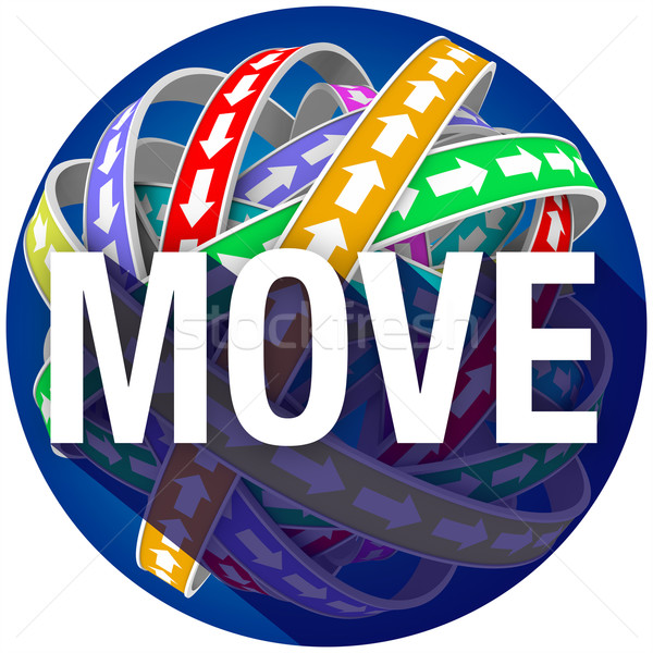 Move Word Long Shadow Arrows Motion Circle Forward Mobility Stock photo © iqoncept