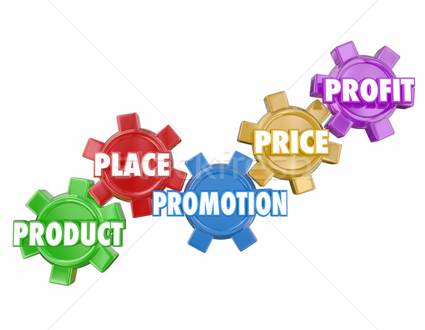 Marketing 5 Ps Product Place Promotion Price Profit Gears in Wor Stock photo © iqoncept