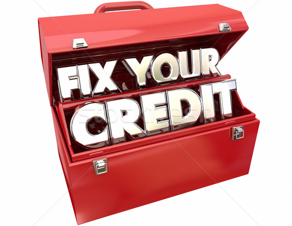 Stock photo: Fix Your Credit Score Rating Repair Improvement Red Toolbox 3d W