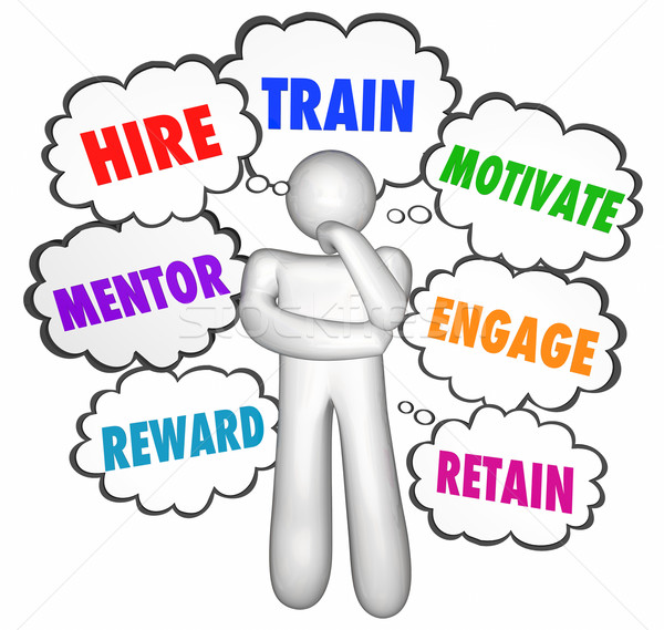 Hire Train Motivate Reward Retain Thinker Thought Clouds Stock photo © iqoncept