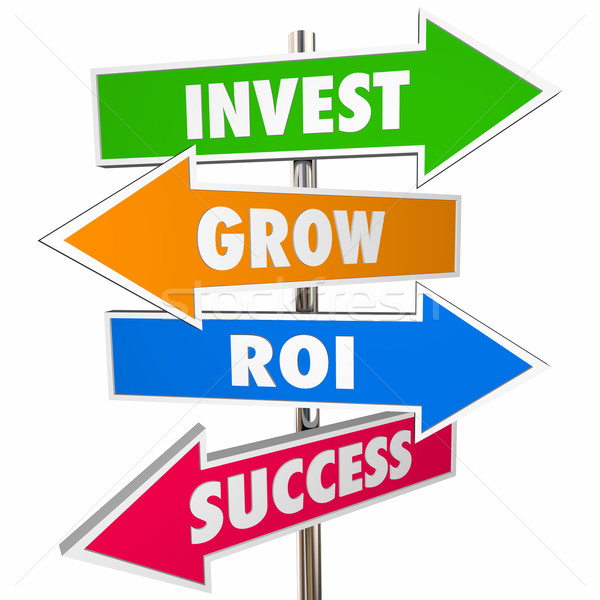 Invest Grow ROI Success Arrow Road Signs 3D Stock photo © iqoncept