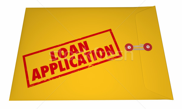 Loan Application Yellow Envelope Stamped Words 3D Stock photo © iqoncept