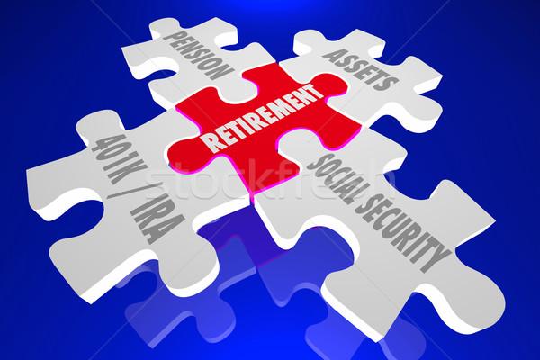 пенсия экономия плана финансовые консультации головоломки слов Сток-фото © iqoncept
