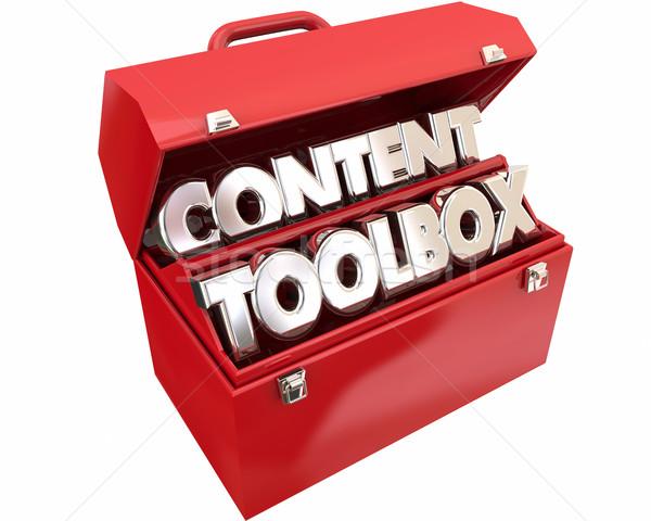 Zdjęcia stock: Zawartość · narzędzia · online · informacji · publiczności · słowa