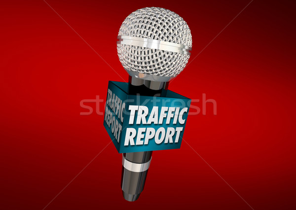 Traffic Report Road News Update Microphone 3d Illustration Stock photo © iqoncept
