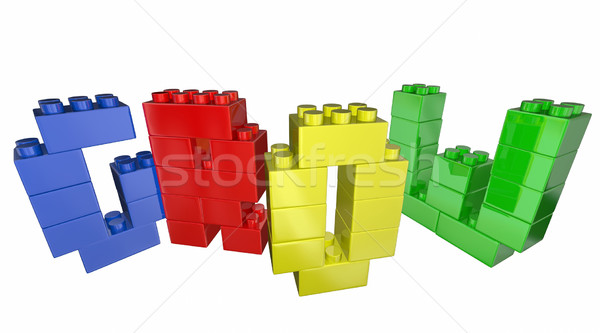 Grow Increase Improve Toy Blocks Word 3d Illustration Stock photo © iqoncept