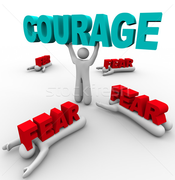 One Person with Courage Has Success, Others Afraid Fail Stock photo © iqoncept
